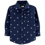 Abominable Snowman Twill Flannel Button-Front Shirt