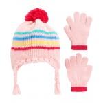 2-Piece Striped Hat & Gloves Set