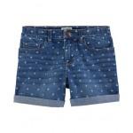 Stretch Star Print Denim Shorts