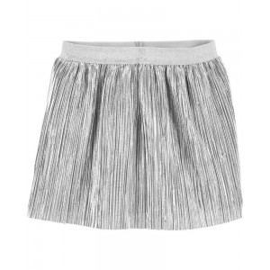Silver Foil Pleated Skirt