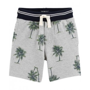 Pull-On French Terry Palm Tree Shorts