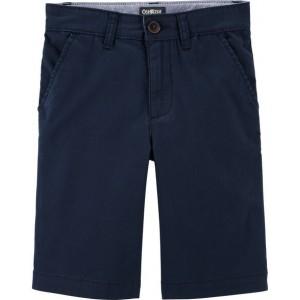 Stretch Flat-Front Shorts, Navy