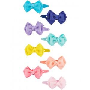 8-Pack Rainbow Bow Hair Clips