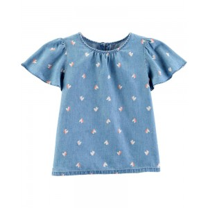 Horse Chambray Top
