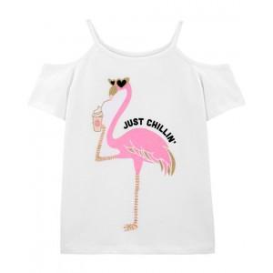 Flamingo Cold-Shoulder Tee