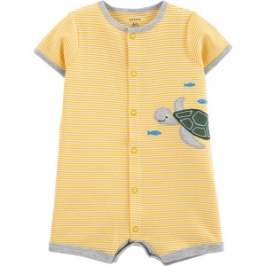 Striped Turtle Snap-Up Romper