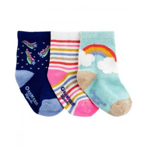 3-Pack Metallic Crew Socks