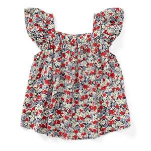 Floral Flutter-Sleeve Top