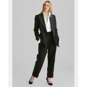 Satin-Trim Wool Straight Pant