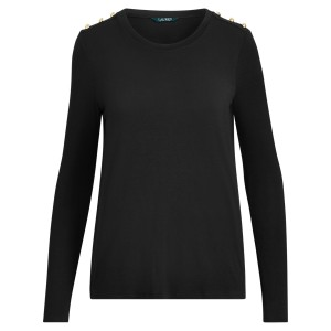 Button-Trim Jersey Top
