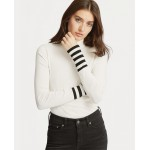 Striped-Sleeve Turtleneck