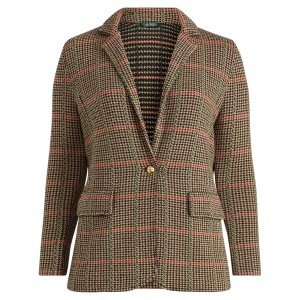 Plaid Wool-Blend Blazer