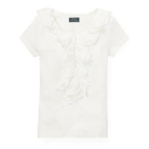 Ruffled Chiffon Cotton T-Shirt