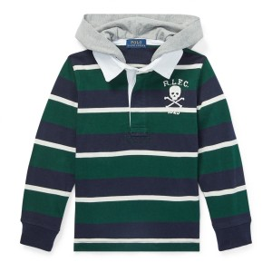 Striped Cotton Hooded Rugby