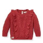 Ruffled Aran-Knit Sweater