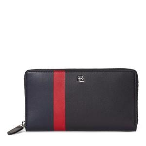 Striped Leather Zip Wallet