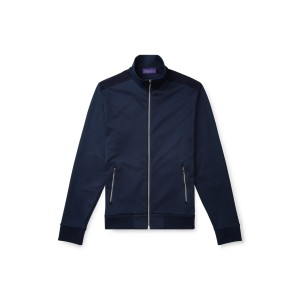 Suede-Trim Cotton Track Jacket