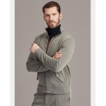 Leather-Trim Knit Track Jacket
