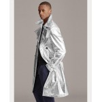 Foil Leather Trench Coat