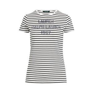Striped Stencil-Logo T-Shirt