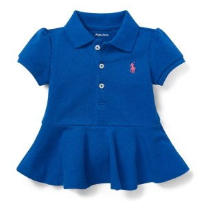 Cotton Piqu&eacute Peplum Polo Shirt