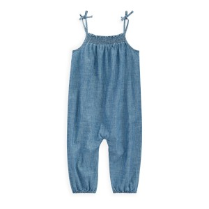 Indigo Cotton Chambray Romper