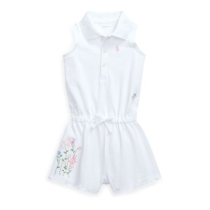 Floral Cotton Mesh Polo Romper