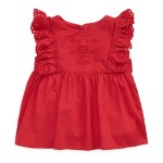 Eyelet-Ruffle-Trim Top