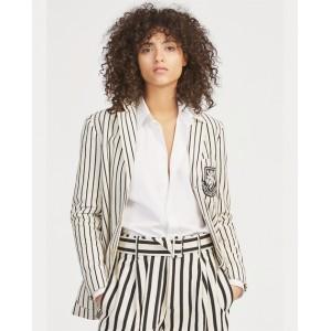 Striped Patch Cotton Blazer