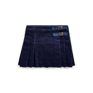 Pleated Corduroy Wrap Skirt