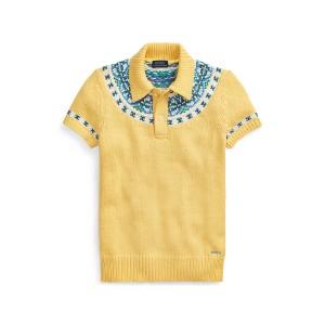 Jacquard-Knit Sweater Polo