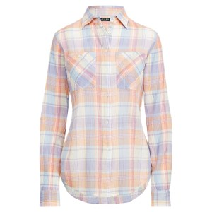 Plaid Crinkled Cotton Shirt