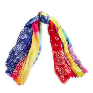 Patchwork Tie-Dye Cotton Scarf