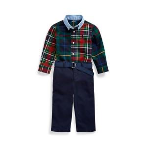 Plaid Shirt, Belt  Chino Set