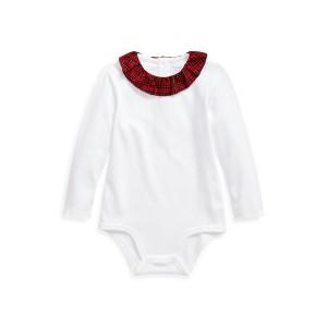 Plaid-Collar Cotton Bodysuit