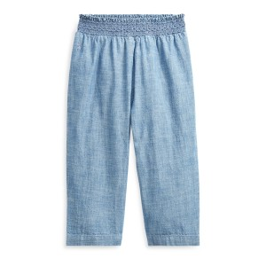 Chambray Smocked Cotton Pant