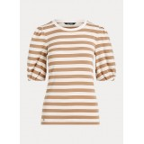 Striped Puff-Sleeve Cotton Top
