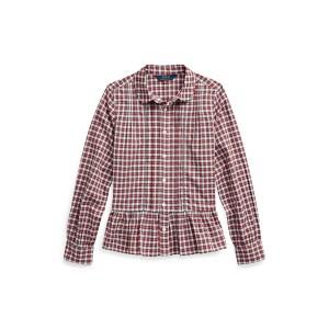 Tartan Peplum-Hem Cotton Shirt