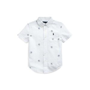 Anchor-Print Seersucker Shirt