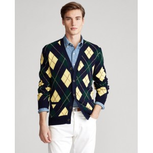 Argyle Cotton-Blend Cardigan