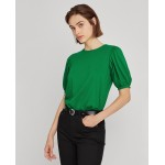 Cotton Jersey Puff-Sleeve Top