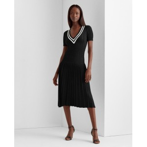 Pleated Cable-Knit Dress