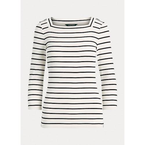 폴로 Striped Cotton-Blend Top