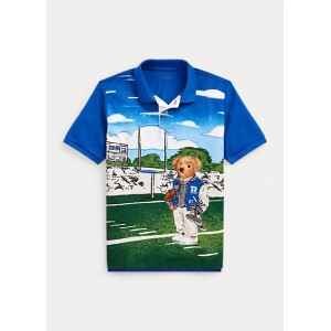 Football Bear Cotton Mesh Polo