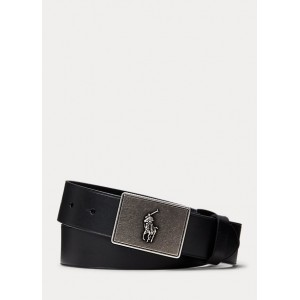 PRL Leather-Trim Cotton Belt