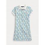 Floral Stretch Mesh Polo Dress