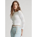 Cropped Pointelle Knit Top