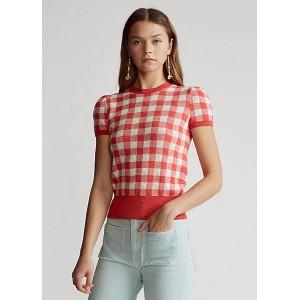 Gingham Short-Sleeve Sweater