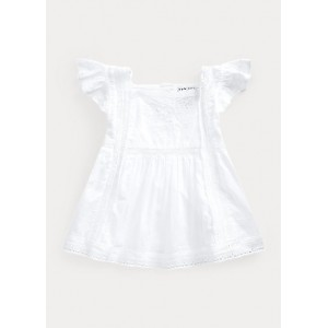 Lace-Trim Cotton Voile Top