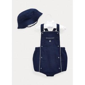 Seersucker Shortall  Hat Set